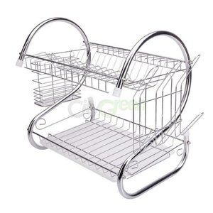 2 Tiers Kitchen Dish Cup Drying Rack Drainer